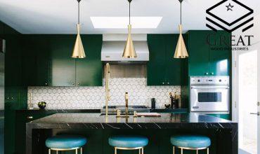 طراحی دکوراسیون آشپزخانه سبز رنگ